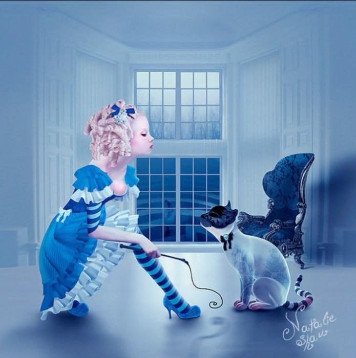 Алиса и Чеширский Кот. Автор работ: Натали Шау (Natalie Shau).
