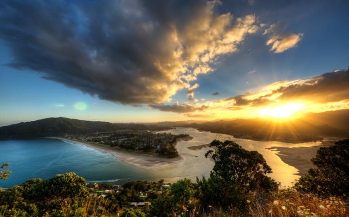Закат в Новой Зеландии.