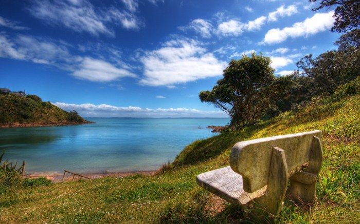 Место для отдыха. Великолепный вид на просторы Новой Зеландии.