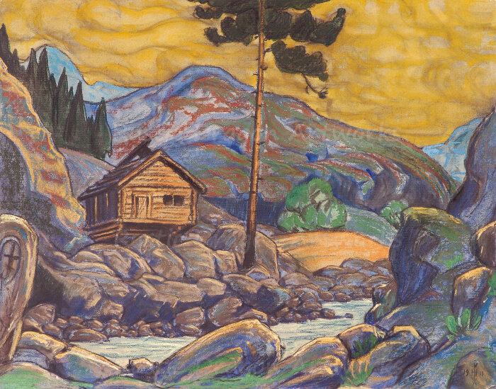 Хижина в горах, Николай Рерих, 1911 год. \ Фото: concertgebouw-brugge.pageflow.io.
