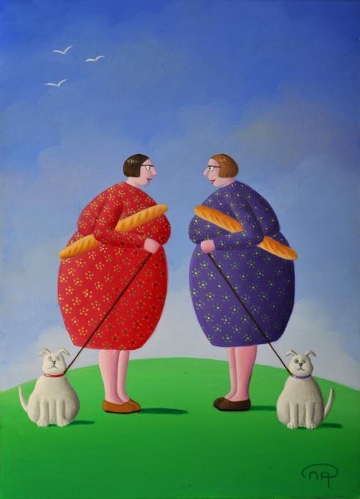 Жизнеутверждающие картины о жизни пышных дамочек и упитанных кошек