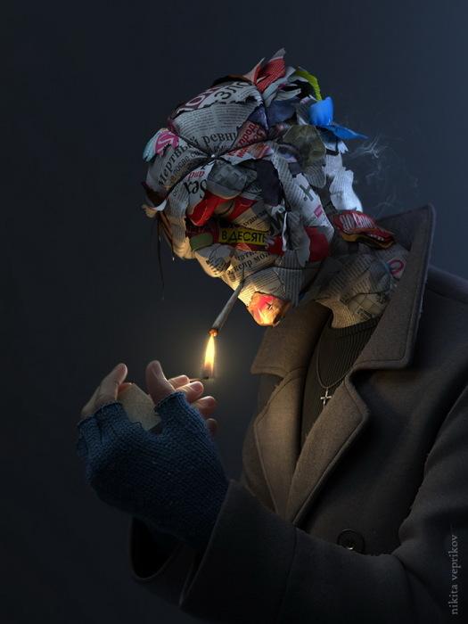 Бумажная голова. Автор: Никита Веприков.