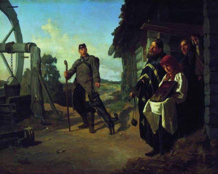 Возвращение солдата на родину. Автор: Николай Неврев.
