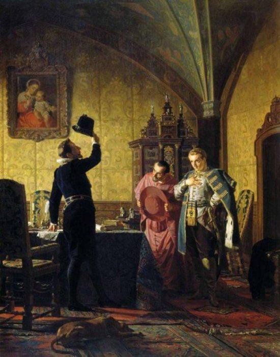 Присяга Лжедмитрия I польскому королю Сигизмунду III на введение в России католицизма. Автор: Николай Неврев.