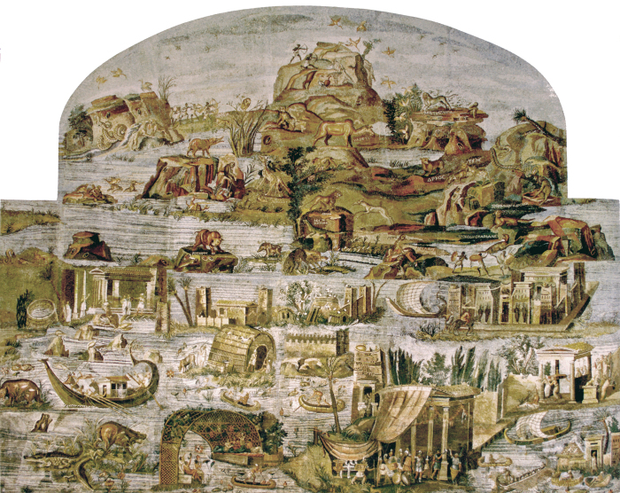 Нилотская мозаика, изображающая течение реки от ее мифического истока до Средиземного моря, II век до н. э. \ Фото: en.wikipedia.org.