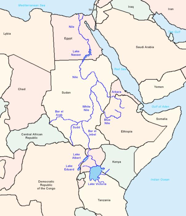 Карта течения Нила. \ Фото: wikipedia.org.