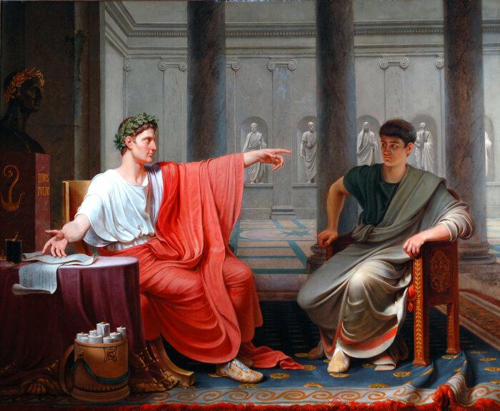 Император Август упрекает Корнелия Цинну в предательстве, Этьен-Жан Делеклюз, 1814 год. \ Фото: borregospringsseniorcenter.org.