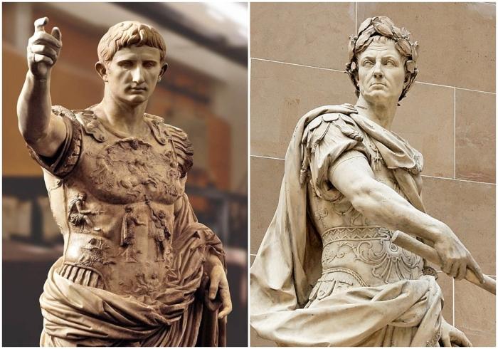 Слева направо: Гай Юлий Цезарь Октавиан Август — древнеримский политический деятель, основатель Римской империи.\ Гай Юлий Цезарь — древнеримский государственный и политический деятель, полководец, писатель.