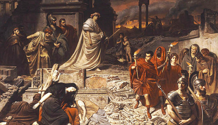 Нерон идет по пеплу Рима, Карл Теодор фон Пилоти, около 1861 года. \ Фото: flipboard.com.