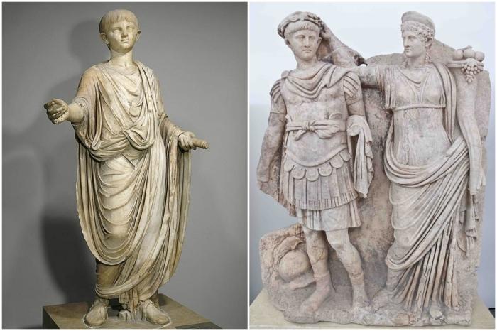 Слева направо: Мраморная статуя юного Нерона, 50-54 гг. н.э. \ Нерон и Агриппина Младшая.