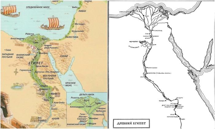 Схематическая карта Древнего Египта.