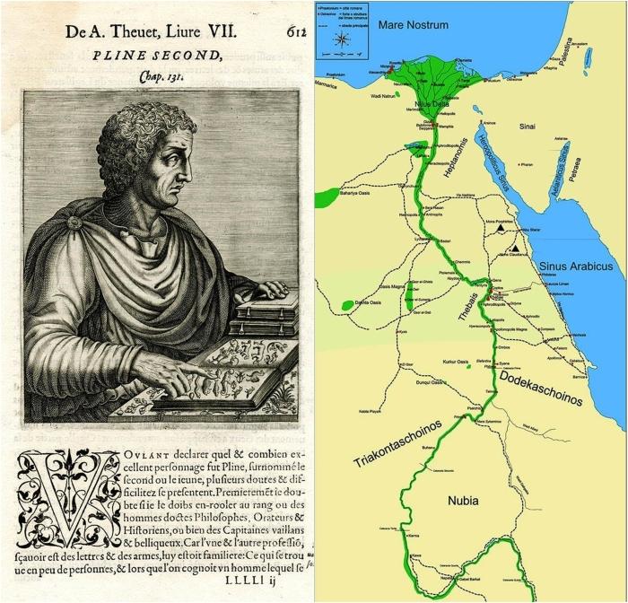Слева направо: Иллюстрация Плиния Старшего, 1584 год. \ Карта Римского Египта и Нубии, показывающая Нил до Пятого порога и кушитскую столицу Мероэ.
