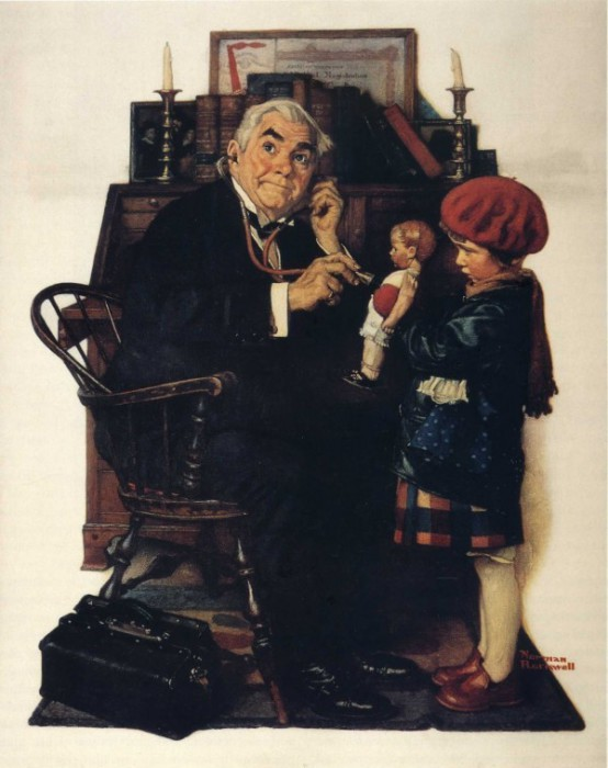 Кукольный доктор. Автор: Norman Rockwell.
