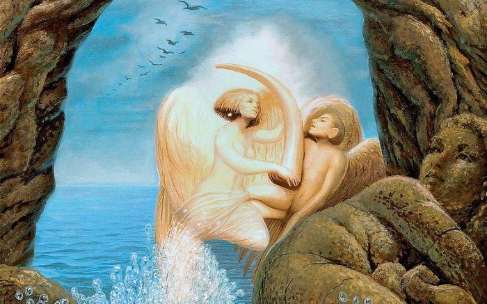 Влюблённые на берегу моря. Автор: Octavio Ocampo.