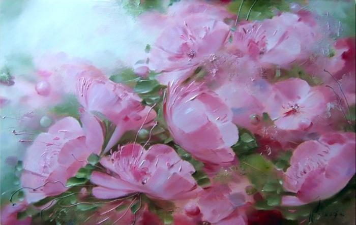 Розовые цветы. Автор: Олег Буйко.