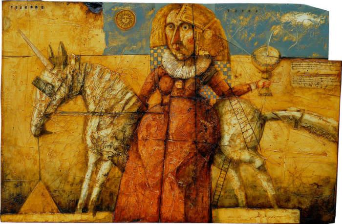 Девочка и единорог. (Girl and Unicorn). Работы украинского художника Олега Денисенко (Oleg Denisenko).