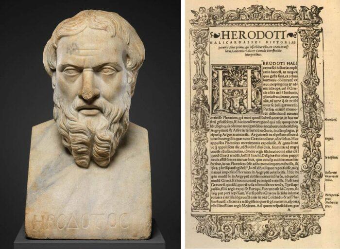 Мраморный бюст Геродота, 2 век н. э. \ Фото: pinterest.com.