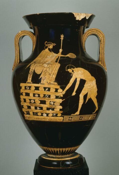 Красно-фигурная ваза с изображением побеждённого Креза на его погребальном костре, прежде чем он был спасён Аполлоном, 5 век до н. э. \ Фото: cig-icg.gr.