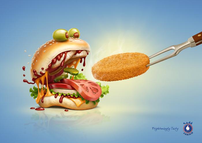 История рождения гамбургера. Автор: Oscar Ramos.