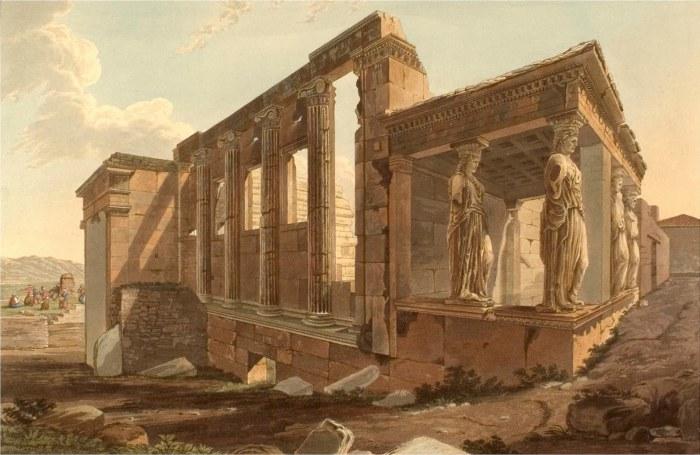 Эрехтейон в афинском Акрополе. Эдвард Додвелл. 1821 г.