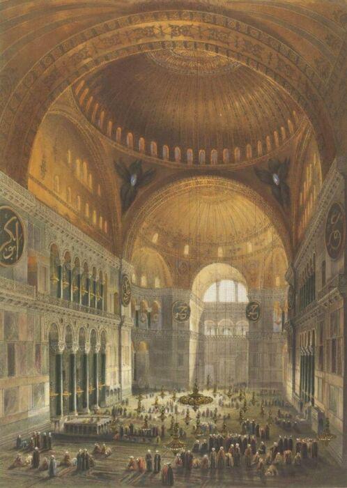Айя София, Гаспар Фоссати, 1852 год.  Фото: collections.vam.ac.uk.