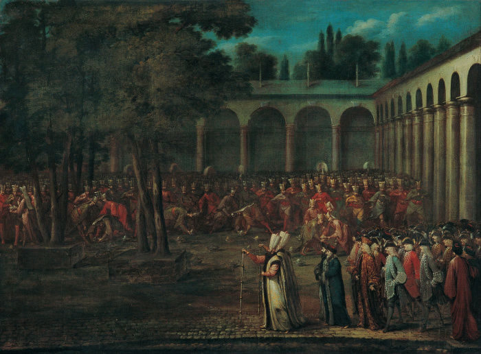 Посольская делегация, проходящая через второй двор дворца Топкапы, Жан Батист Ванмор, 1730 год. \ Фото: commons.wikimedia.org.