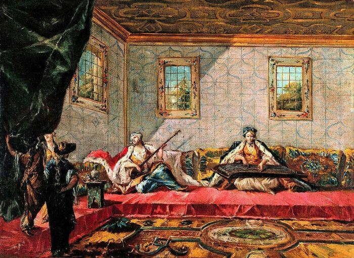Две одалиски, играющие музыку в гареме, Гварди Джованни Антонио и Франческо Гварди. \ Фото: billedkunst.meloni.dk.