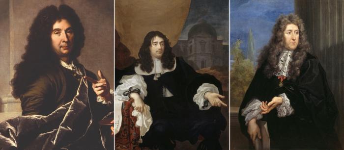 Слева направо: Шарль Лебрен, Луи Лево, Андре Ленотр.