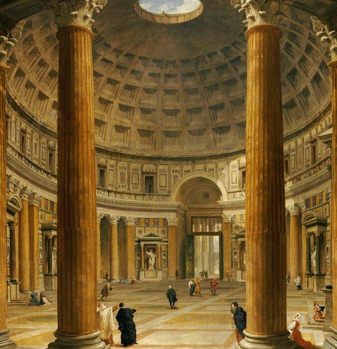 А когда-то пространство Пантеона, уже в качестве христианского храма, выглядело так. \ Фото: twitter.com.
