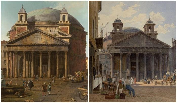Слева направо: Пантеон, Каналетто (Джованни Антонио Каналь), 1742 год. \ Фото: rome-roma.net. \ Пьяцца Ротонда с видом на Пантеон, Якоб Альт, 1836 год. \ Фото: google.com.ua.