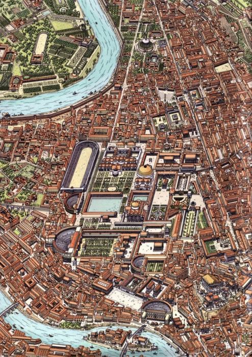 Карта Рима II века с изображением Пантеона (в центре). \ Фото: teggelaar.com.