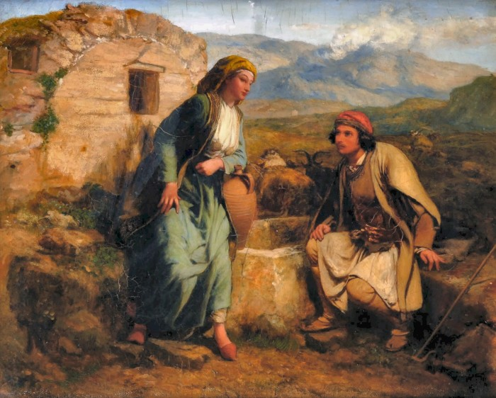 Греческий пастух и дева у колодца. Автор: Paul Falconer Poole.