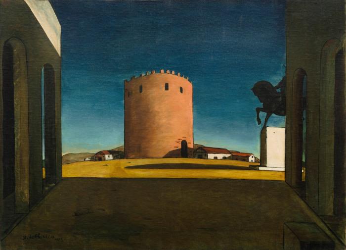 Красная Башня, Джорджо де Кирико, 1913 год. (Данное произведение искусства находится в коллекции Пегги Гуггенхайм). \ Фото: guggenheim.org.