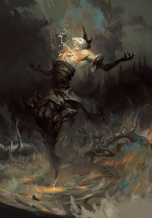 Баракиэль - ангел молний. Автор иллюстрации: Питер Морбахер (Peter Mohrbacher).