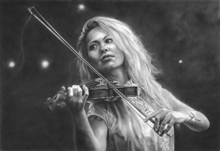 Скрипачка. Автор: Peter Williams.
