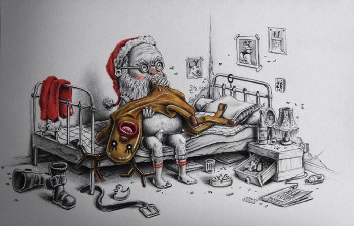 Неожиданный поворот. Санта Клаус в новогоднюю ночь. Автор: Pez.