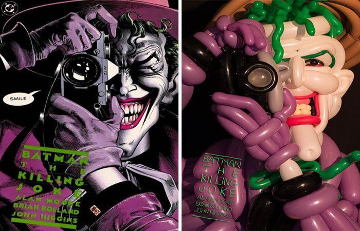 Обложки комиксов созданные из воздушных шаров. Автор: Phileas Flash.