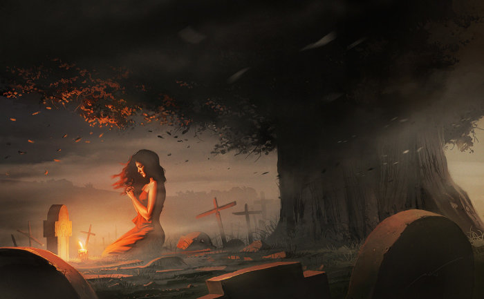 Она молится. Автор: Pierre Droal.