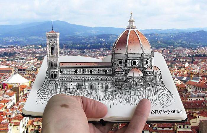 Где-то между рисунком и реальностью: Флоренция, Италия. Автор: Pietro Cataudella.