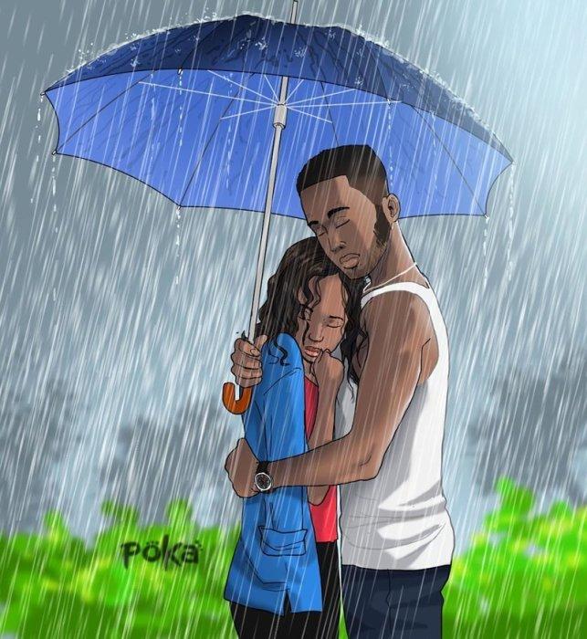 Влюблённые под дождём. Автор: Poka Arts.