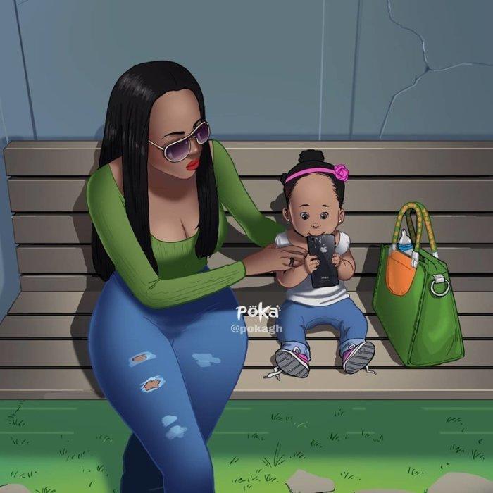 Заботливая мама. Автор: Poka Arts.