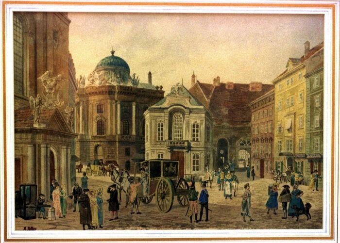 Акварель приписывается Адольфу Гитлеру во время его пребывания в Вене (1911-1912 гг). \ Фото: youm7.com.