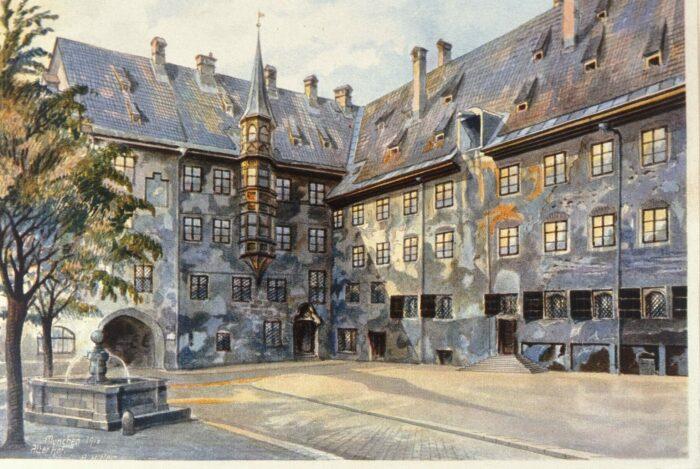 Акварель Адольфа Гитлера, изображающая двор старой резиденции в Мюнхене. \ Фото: dailyartmagazine.com.