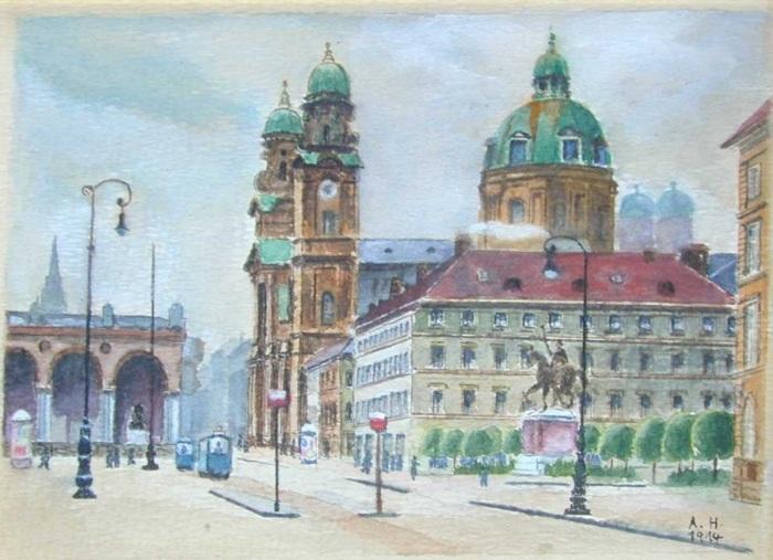 Искусство Адольфа Гитлера, Одеонсплац, 1914 год. \ Фото: steemkr.com.