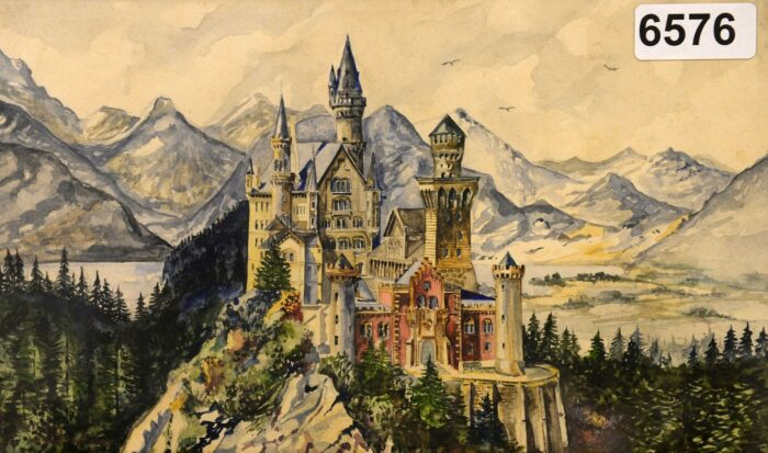 Акварель 1914 года, подписанная Адольфом Гитлером, изображающая Замок Нойшванштайн в Баварии. \ Фото: ekonomskevesti.com.