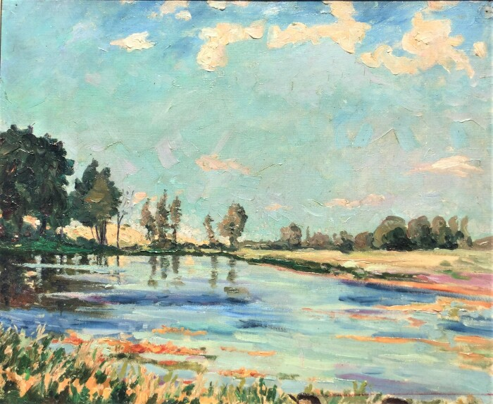 Черчилль нарисовал сцену озера в Норфолке яркими красками, вдохновлёнными импрессионистами, такими как Моне, где-то в 1930-х годах. \ Фото: nationalchurchillmuseum.org.