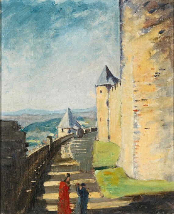 Черчилль написал эту картину под названием Зубчатые стены Каркассона где-то в 1930-х годах. \ Фото: smithsonianmag.com.