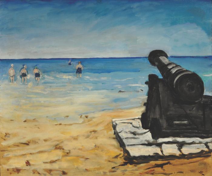 Сэр Уинстон Черчилль, пляж в Уолмере, 1938 г. (Частная коллекция). \ Фото: bbs.wenxuecity.com.