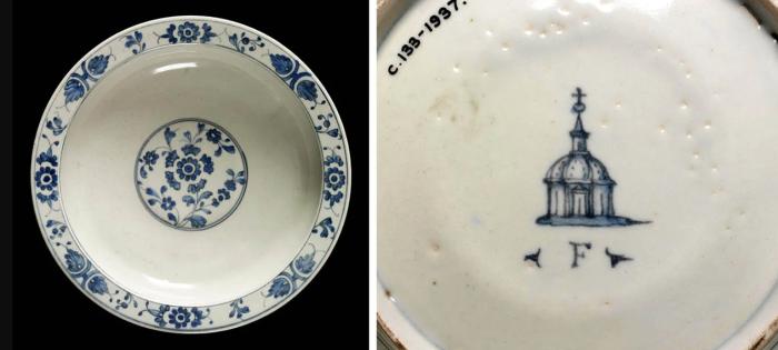Передняя и задняя части блюда с фарфоровыми марками Медичи, ок. 1575-87 гг. \ Фото: google.com.ua.