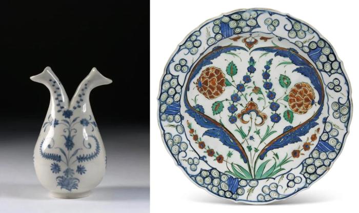 Слева направо: Круэ, фарфор Медичи, ок. 1575-87 гг. \ Керамическое блюдо Изника, ок. 1570 г. \ Фото yandex.ua.